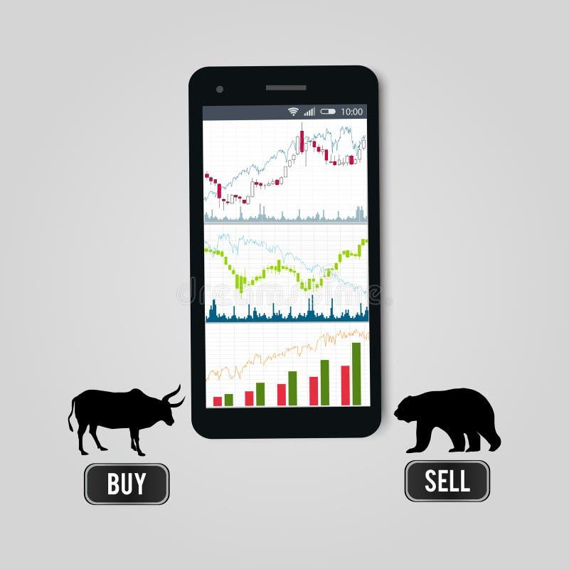 Börseon-line-Devisenhandelskonzept - Handy mit Armaturenbrett von Aktienkurven auf Schirm, Schattenbilder von lizenzfreie abbildung