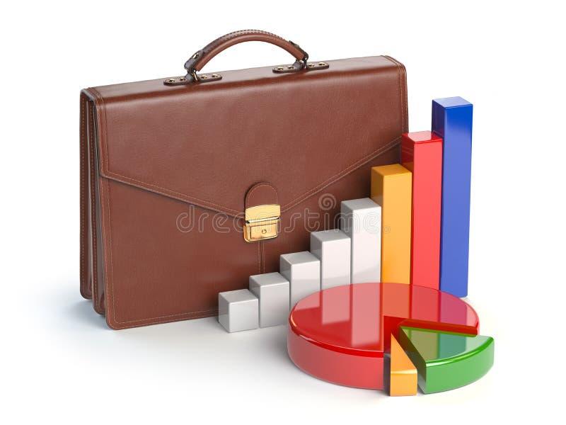Börseportfoliokonzept Aktenkoffer und Diagramm lokalisiert vektor abbildung