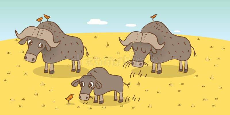 Búfalo africano stock de ilustración