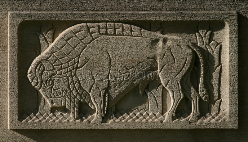 Búfalo gravado na pedra fotografia de stock