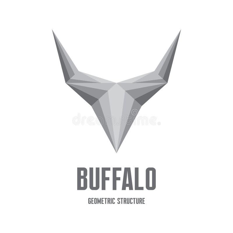 Búfalo Logo Sign - estrutura geométrica abstrata ilustração do vetor