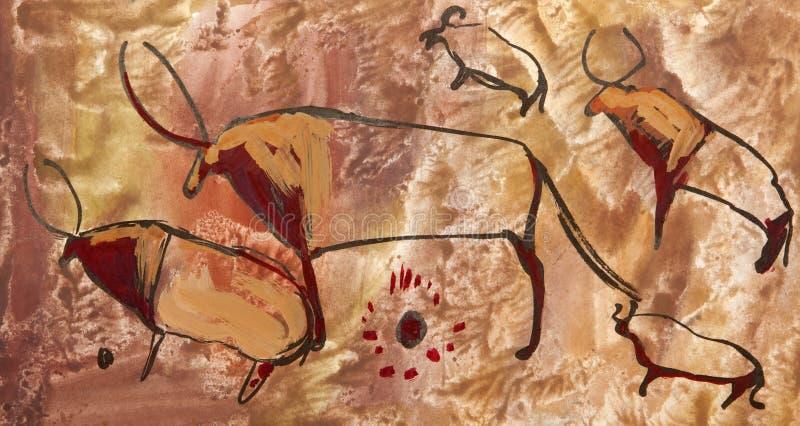Búfalo. Petroglifo antiguo viejo imagen de archivo libre de regalías