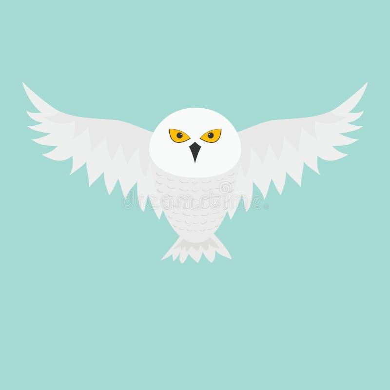 Búho blanco Nevado Pájaro de vuelo con las alas grandes Ojos del amarillo Colección animal polar ártica Madre y bebé en la educac stock de ilustración