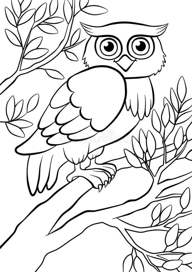 Búho bueno lindo que se sienta en el árbol en el bosque libre illustration