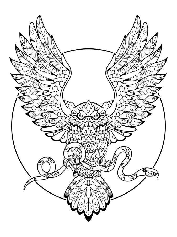 Búho con el libro de colorear de la serpiente para el vector de los adultos libre illustration