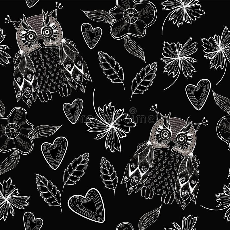 Búho con las flores en inconsútil libre illustration
