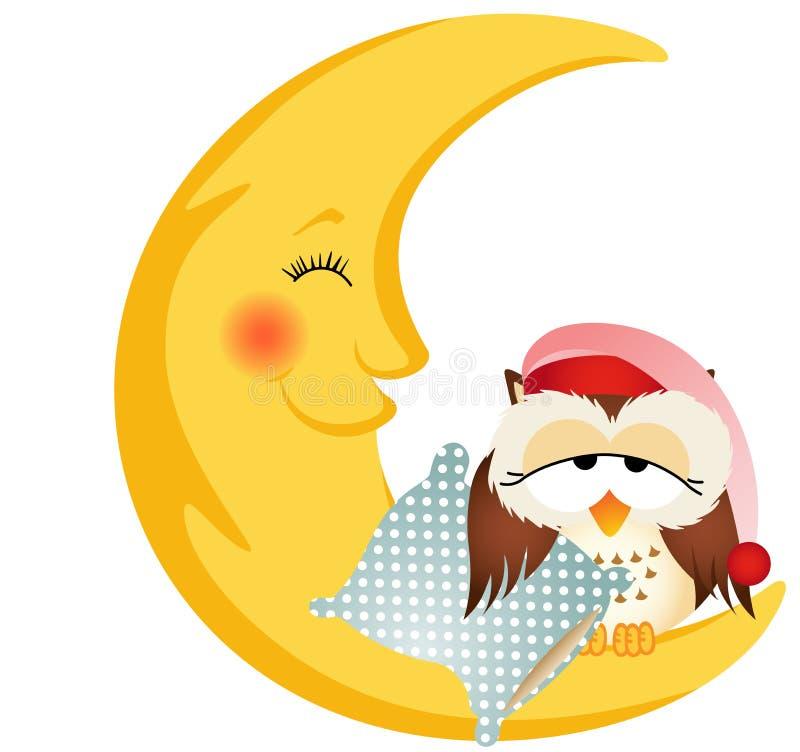 Búho de buenas noches que se sienta en una luna ilustración del vector