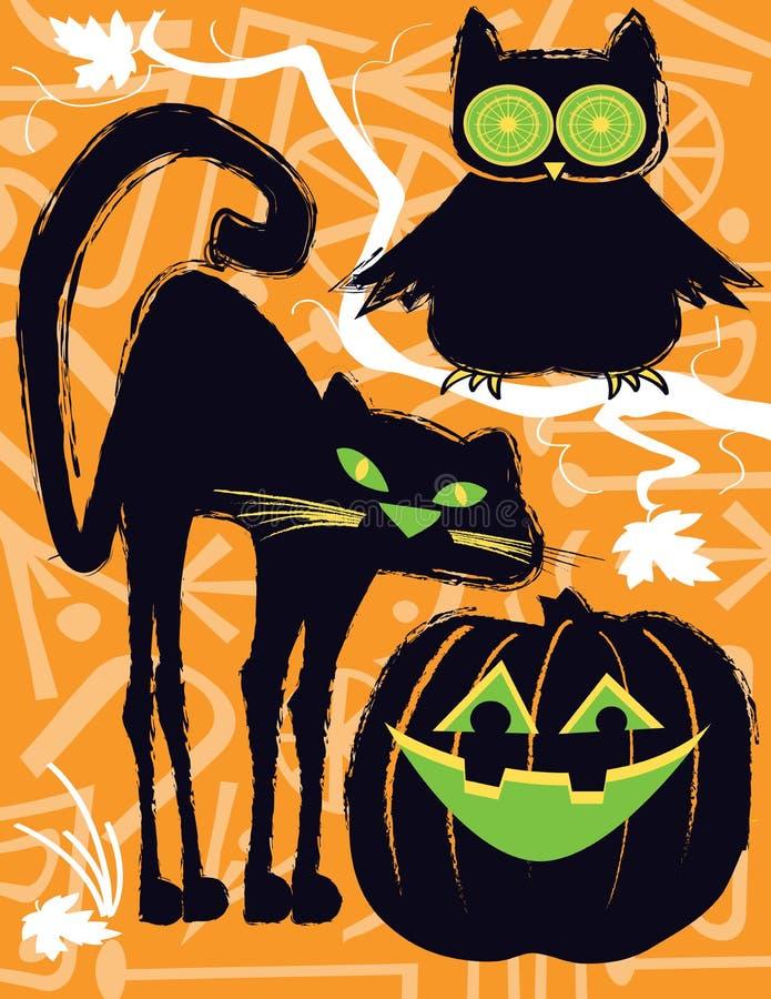Búho de Halloween, gato y linterna de Jack o fotografía de archivo