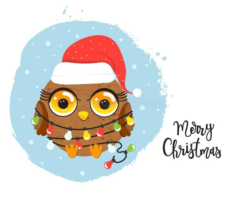 Búho de la historieta con las luces de la Navidad stock de ilustración