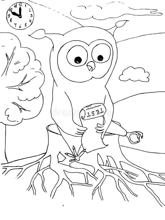 Búho de la historieta con la prueba que se sienta en el tocón, reloj Ejemplo común dibujado mano monocromática del vector stock de ilustración