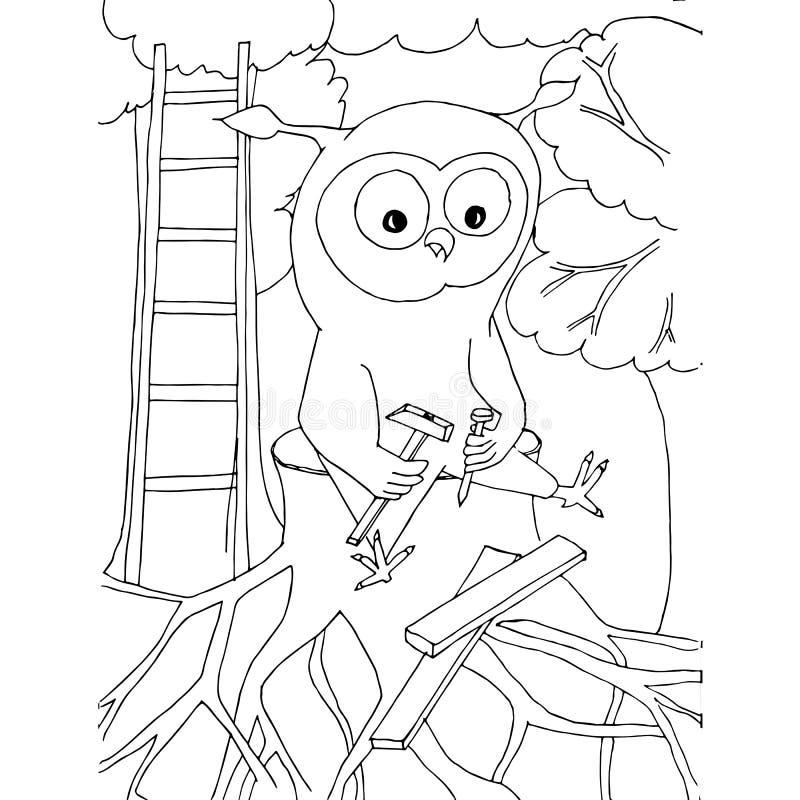 Búho de la historieta con un martillo, un clavo que se sienta en el tocón Ejemplo común dibujado mano monocromática del vector libre illustration