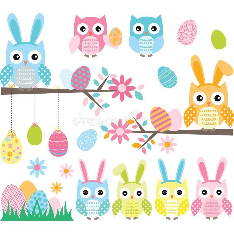 Búho de Pascua stock de ilustración