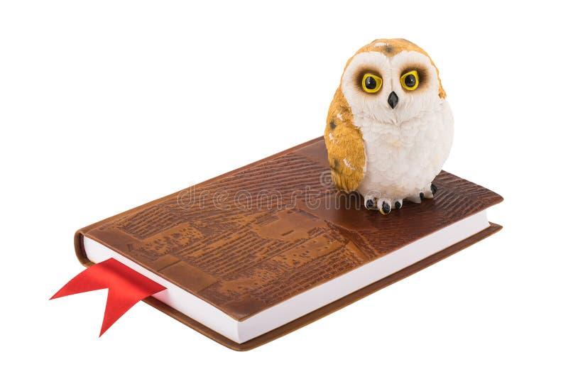 Búho decorativo que se coloca en un cuaderno de cuero con la señal roja, imagenes de archivo