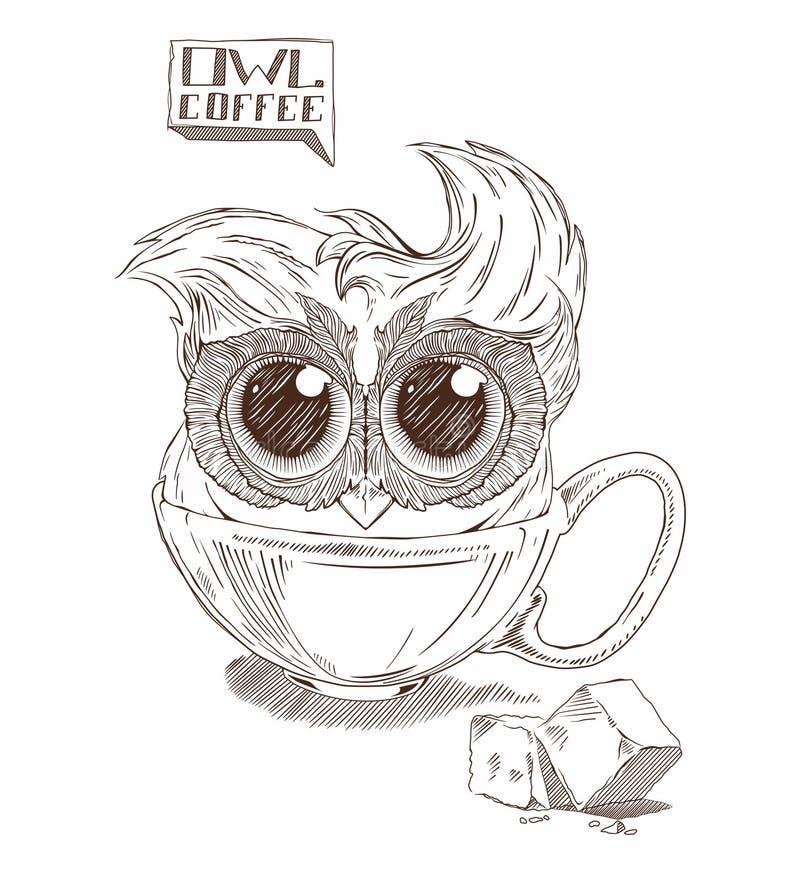 Búho del café stock de ilustración