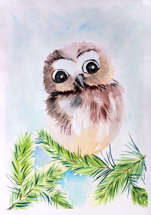 Búho del ` del dibujo del ` s de los niños en un ` de la rama stock de ilustración