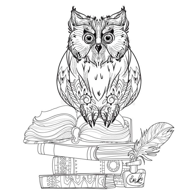 Búho del pájaro en los libros stock de ilustración
