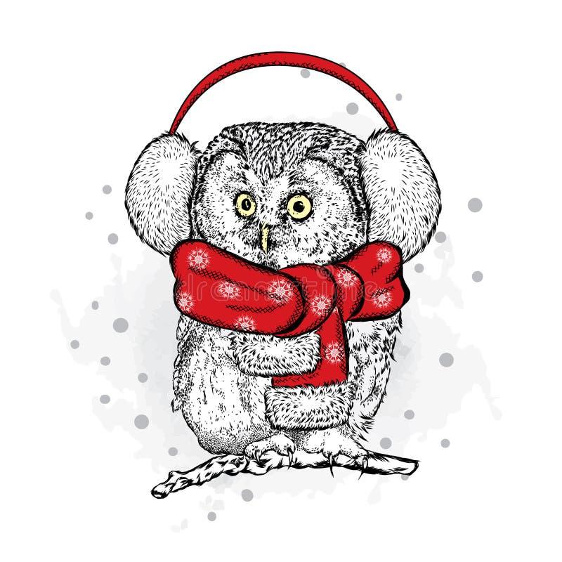 Búho divertido en el Año Nuevo con los auriculares stock de ilustración