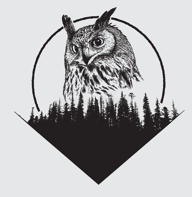 Búho en fondo de la silueta del bosque libre illustration