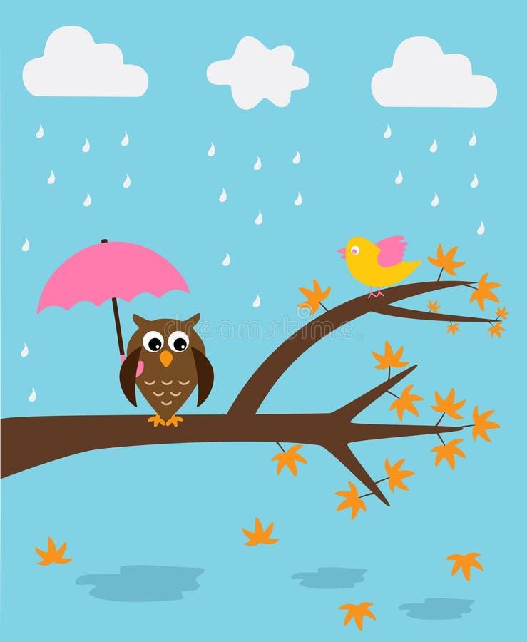 Búho en la estación de lluvias ilustración del vector