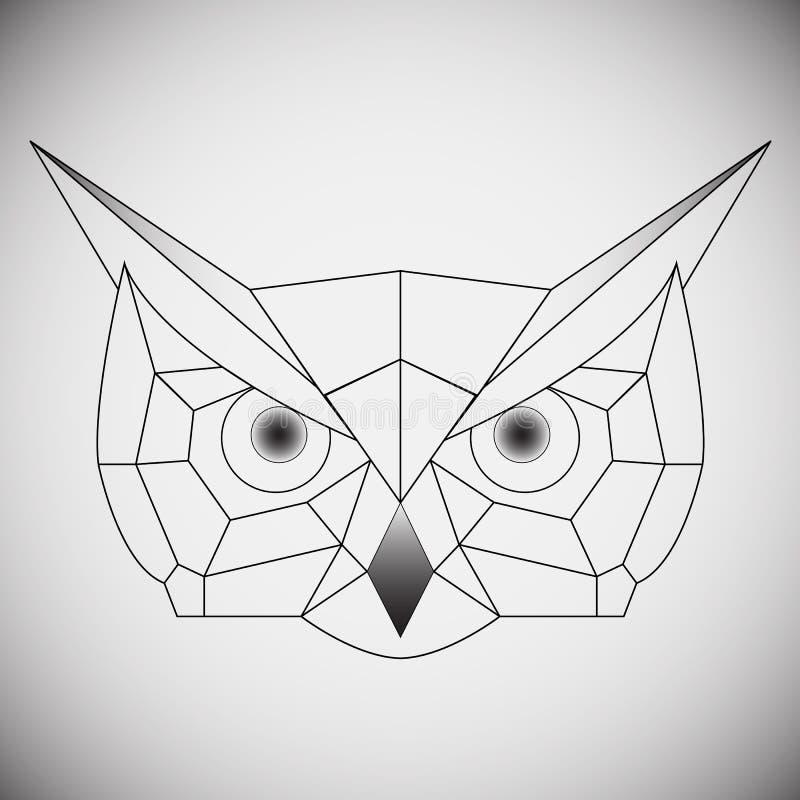 Búho geométrico de la cabeza del vector dibujado en el estilo de la línea o del triángulo, convenientes para las plantillas polig ilustración del vector