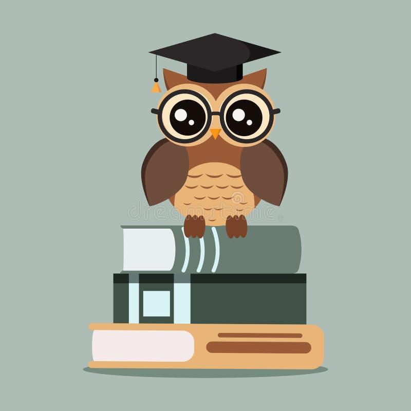 Búho lindo aislado en lentes con el casquillo de la graduación que se sienta en una pila de libros ilustración del vector