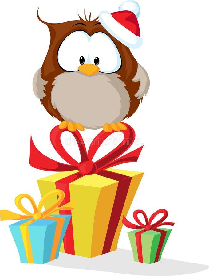 Búho lindo con el sombrero de santas que se sienta en el regalo de la Navidad - vector stock de ilustración