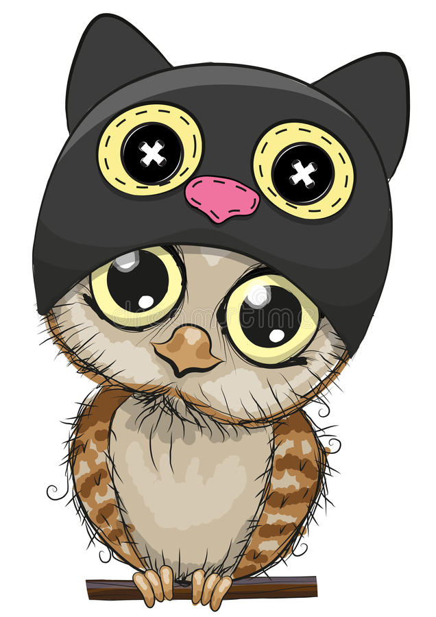 Búho lindo de la historieta en un sombrero del gato libre illustration