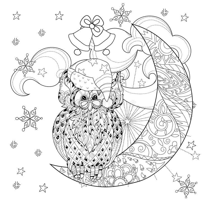 Búho Lindo En La Media Luna De La Navidad Ilustración del Vector ...