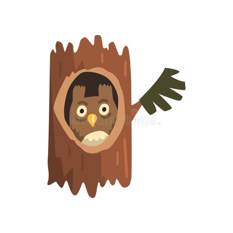 Búho lindo que se sienta en el hueco del árbol, hacia fuera ahuecado del árbol viejo y del personaje de dibujos animados animal l ilustración del vector