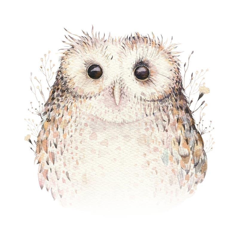 Búho natural del boho de las plumas de pájaros de la acuarela Cartel bohemio de los búhos Ejemplo del boho de la pluma para su di stock de ilustración