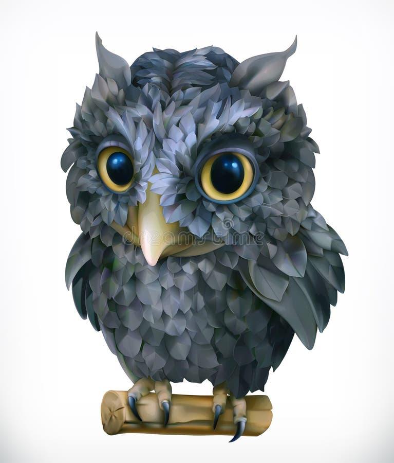 Búho Pájaro de noche Animal divertido Engrana el icono ilustración del vector