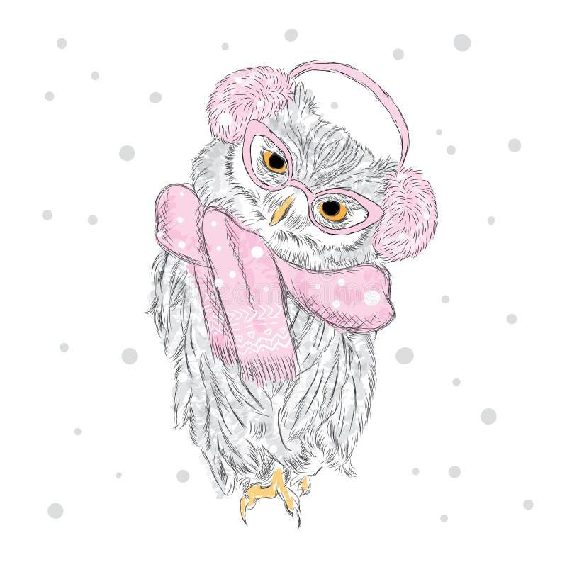 Búho que lleva una bufanda y los auriculares Invierno watercolor Vector el ejemplo para la tarjeta de felicitación, el cartel, o  stock de ilustración