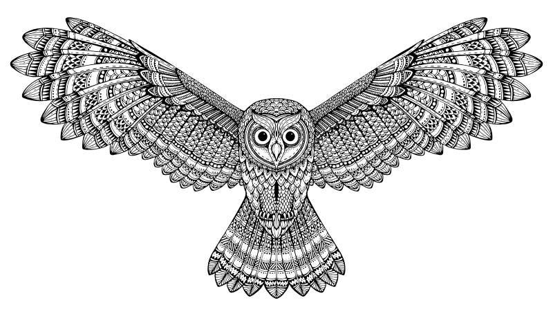 Búho que vuela dibujado mano del vector Arte blanco y negro del zentangle stock de ilustración