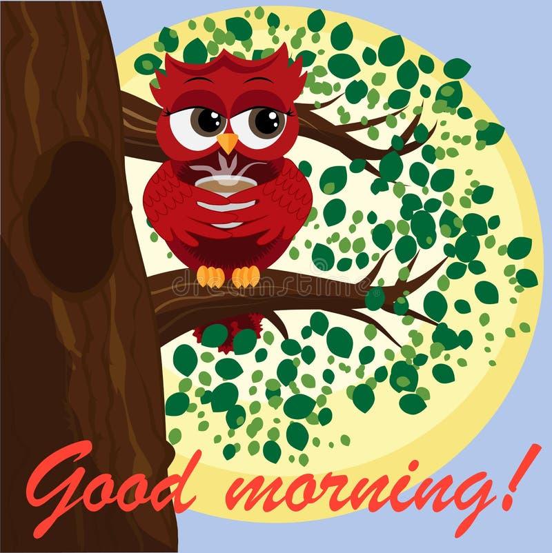 Búho rojo coqueto hermoso lindo en una rama con una taza de cocer el café, el té o el chocolate al vapor stock de ilustración