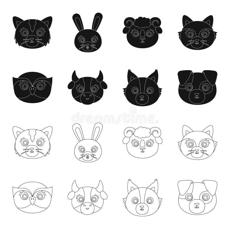 Búho, vaca, lobo, perro Iconos determinados de la colección del bozal animal del ` s en el negro, web del ejemplo de la acción de stock de ilustración