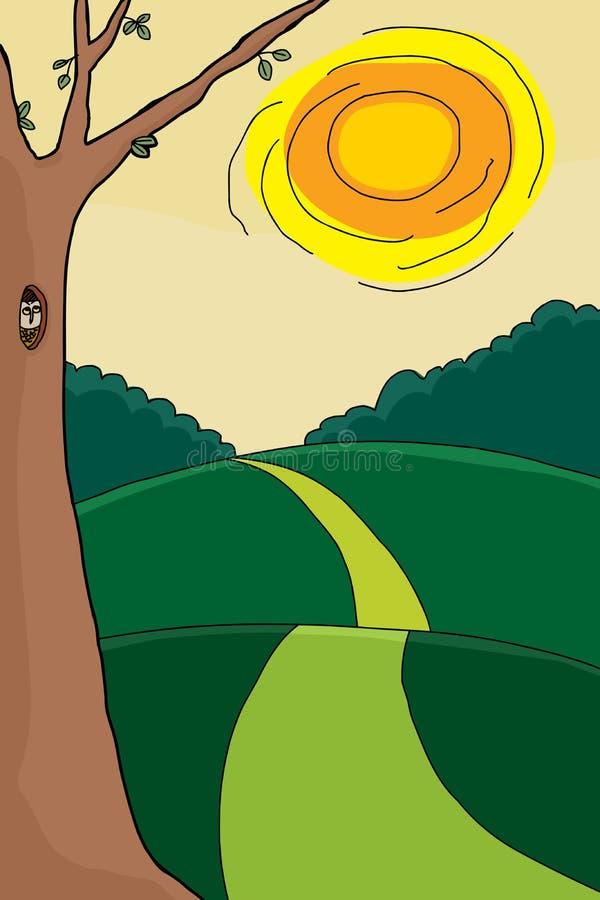 Download Búho y árbol en verano ilustración del vector. Ilustración de cubo - 41915530