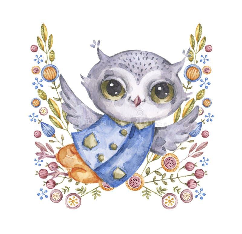 Búho y flores lindos del watercolour en estilo infantil stock de ilustración