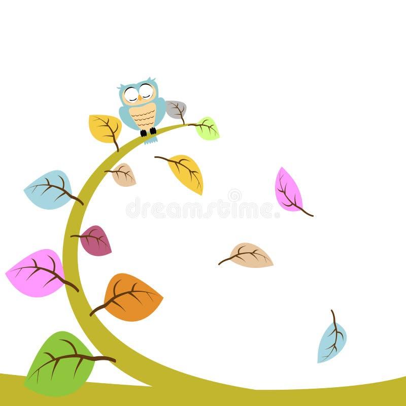 Búho y hoja florales stock de ilustración