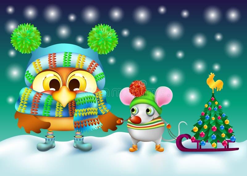 Búho y ratón divertidos en sombrero del invierno con el árbol de navidad imagenes de archivo
