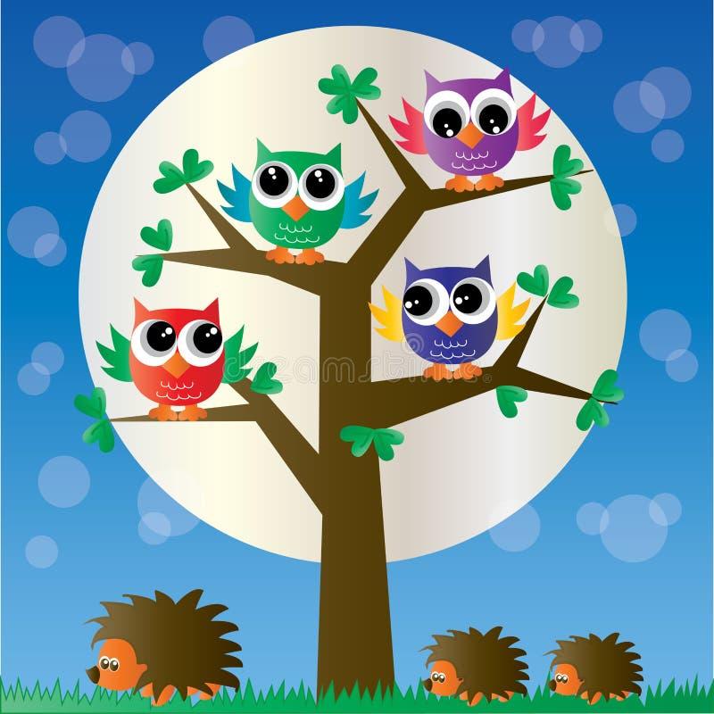 Búhos coloridos de un ow completo del árbol libre illustration