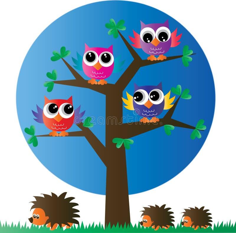 Búhos coloridos de un ow completo del árbol ilustración del vector