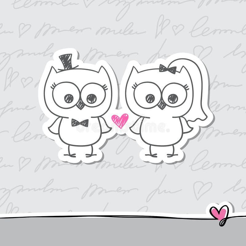 Búhos de la boda ilustración del vector