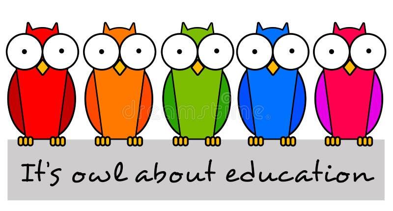 Búhos de la educación stock de ilustración