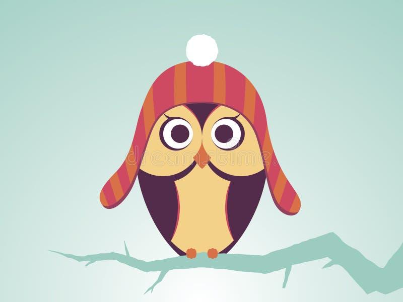 Búhos del vector en sombrero rayado rojo con el bubón ilustración del vector
