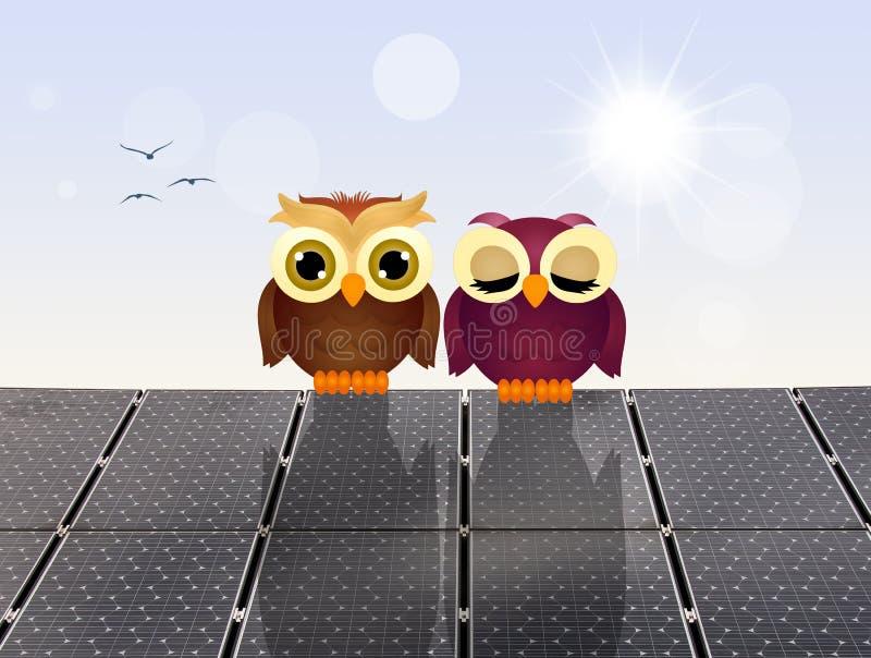 Búhos en los paneles solares ilustración del vector