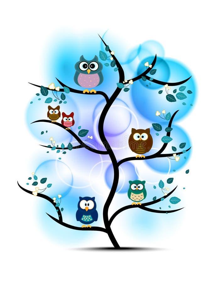Búhos encaramados en un árbol ilustración del vector