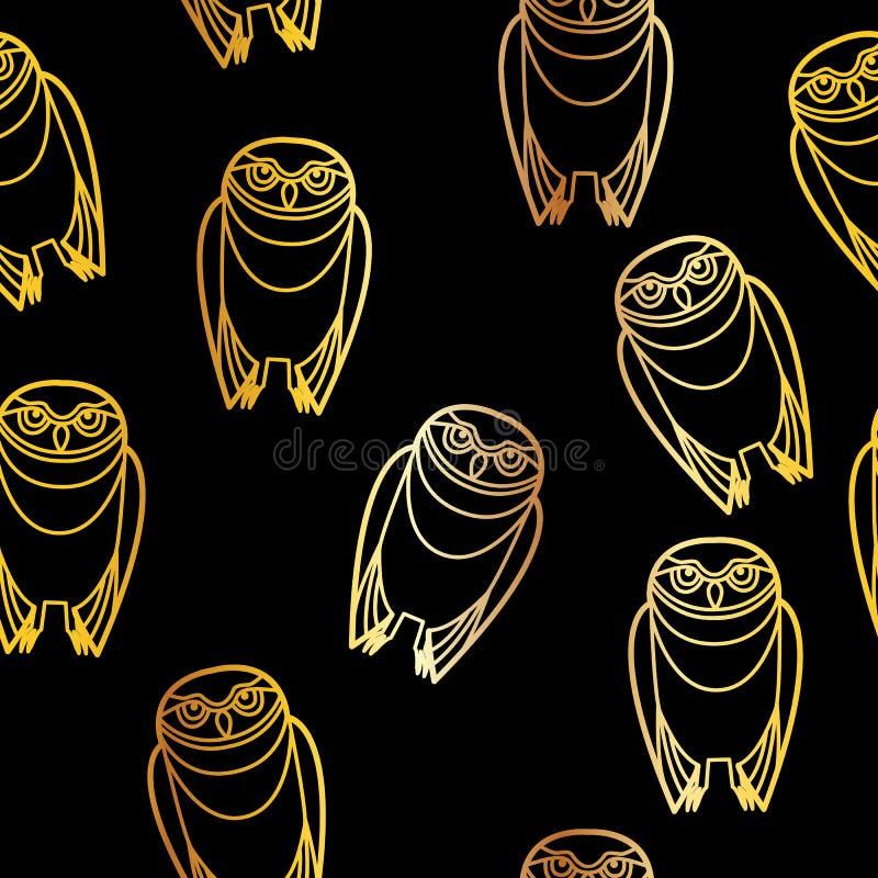 Búhos inconsútiles del oro sobre negro libre illustration
