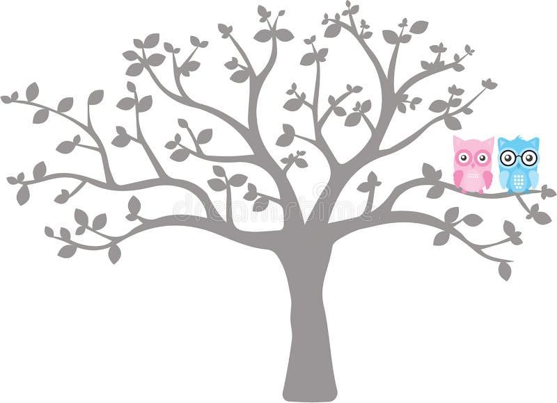 Búhos lindos en árbol, etiquetas de la pared de los niños, diseño del vector aisladas en el fondo blanco ilustración del vector