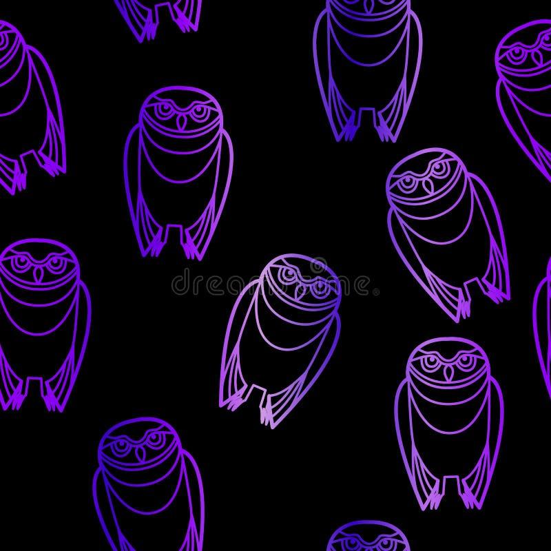 Búhos púrpuras inconsútiles sobre negro ilustración del vector
