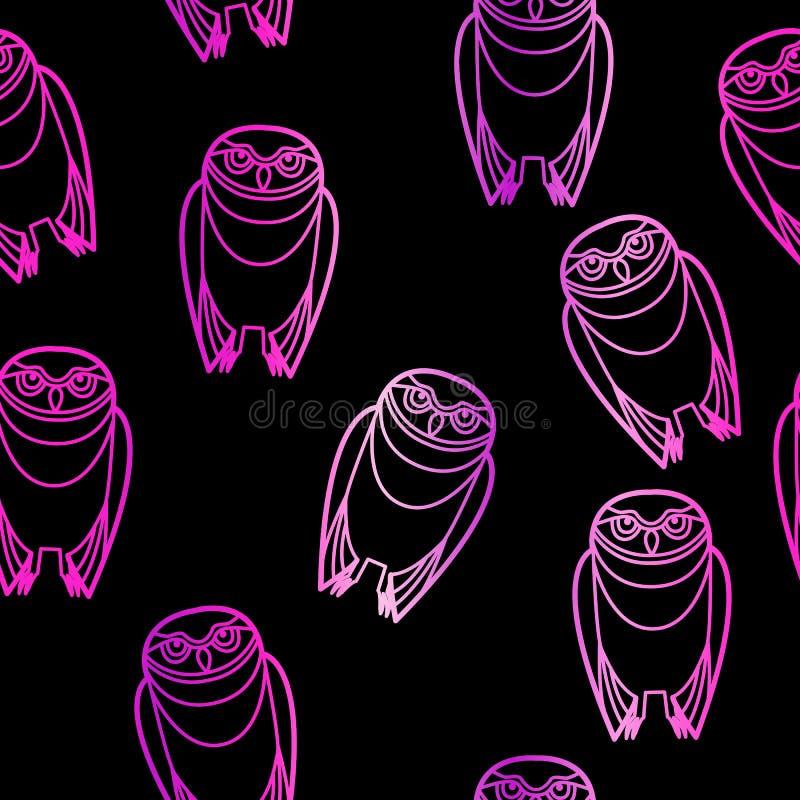 Búhos rosados inconsútiles sobre negro libre illustration